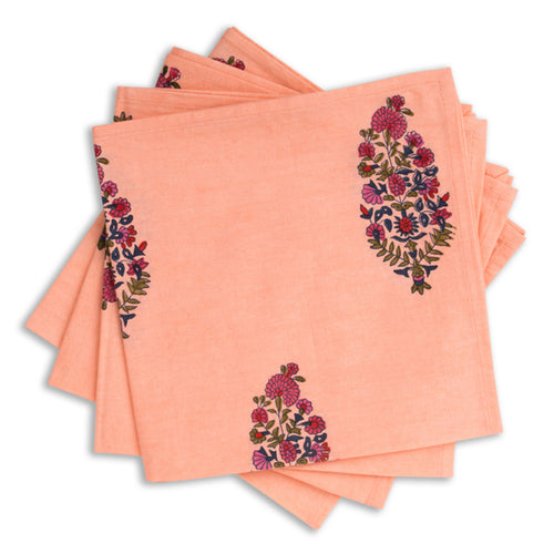 Peach Paisley Blockprint Napkin