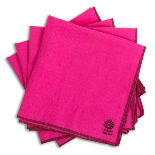 Furbish Studio - Icon Linen Napkin in Fuchsia with wine red stitched edges and corner logo