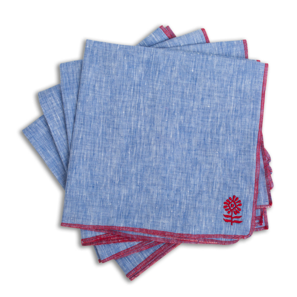 Furbish Studio - Icon Linen Napkin in Azure with Cherry Red embroidery edge and custom logo