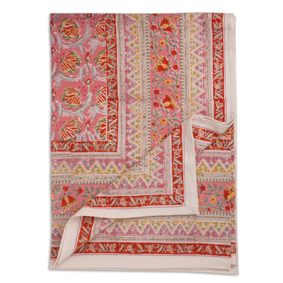 Furbish Studio - Lissie Tablecloth in pink, coral, yellow, and sage