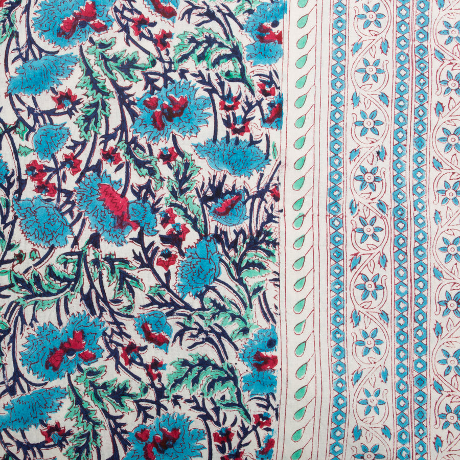Furbish Studio - Noelle Tablecloth in blue and red florals closeup of fabric details