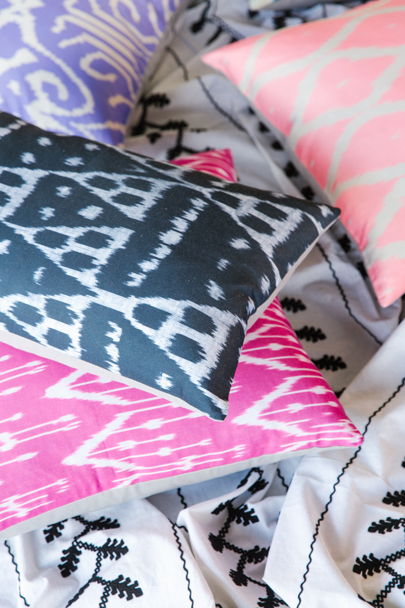 Furbish Studio - Diamond Ikat Lumbar Pillow in black, pink, coral, and lavendar