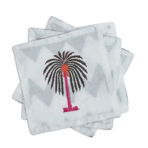 Furbish Studio - Indian Summer Palms Cocktail Napkins set of 6 colorful cotton