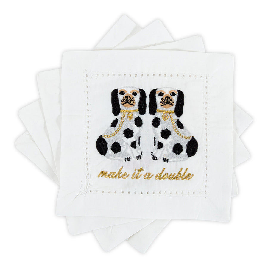 Furbish Studio - Let's Do Drinks Cocktail Napkins showing staffordshire dogs make it a double
