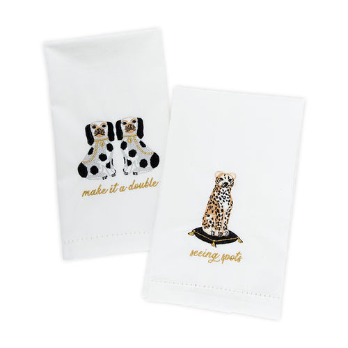Furbish Studio - Let's Do Drinks Guest Towels set of 2 make it a double Staffordshire dogs and seeing spots cheetah