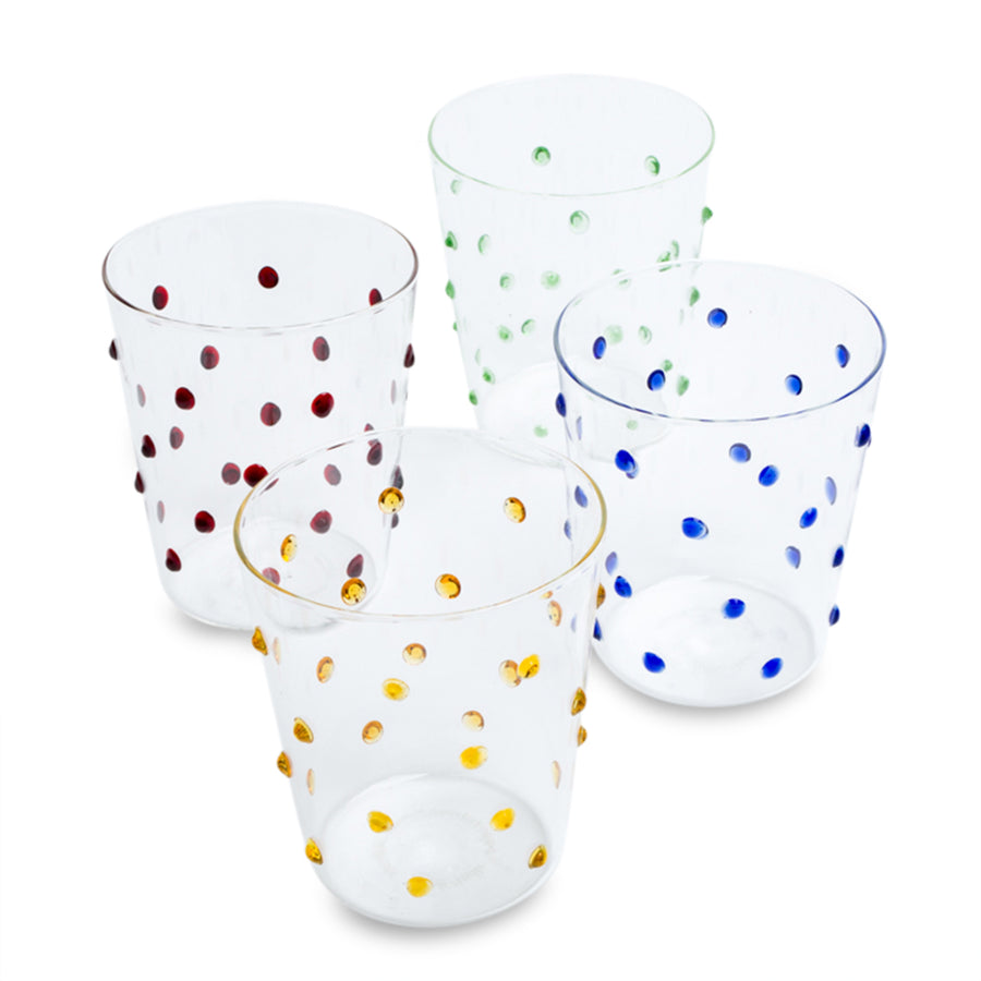 Furbish Studio - Tropez Glass Tumbler Set of 4 in green, blue, yellow, and garnet red