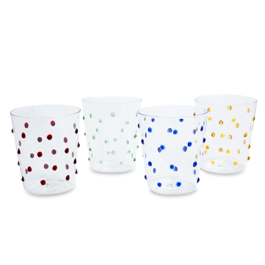 Furbish Studio - Tropez Glasses Rainbow Set of 4 raised dots tumblers in blue, yellow, green, garnet red