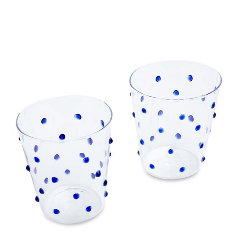 Furbish Studio - Tropez Glass Tumblers Set of 2 in Indigo Blue