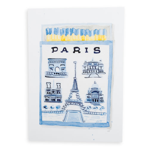 Paris Matchbook Watercolor Print
