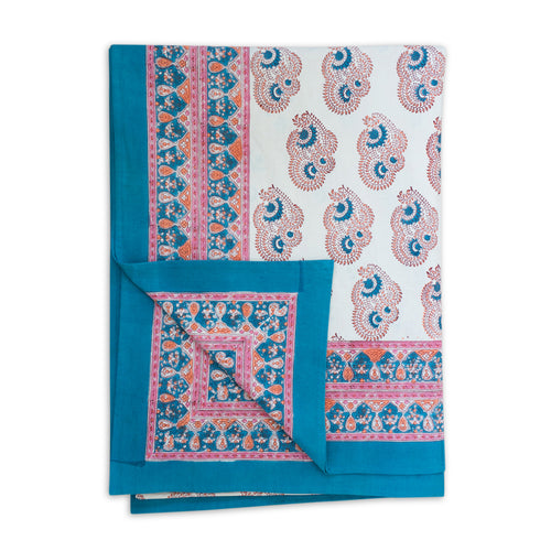 Furbish Studio - Bar Harbor Turquoise Paisley Tablecloth shown with flipped edge