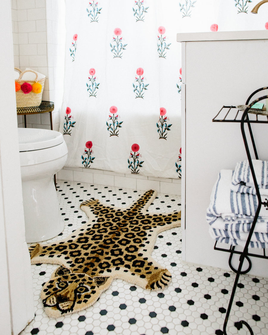 Furbish Studio - Looney Leopard Rug or Wall Hanging shown in bathroom
