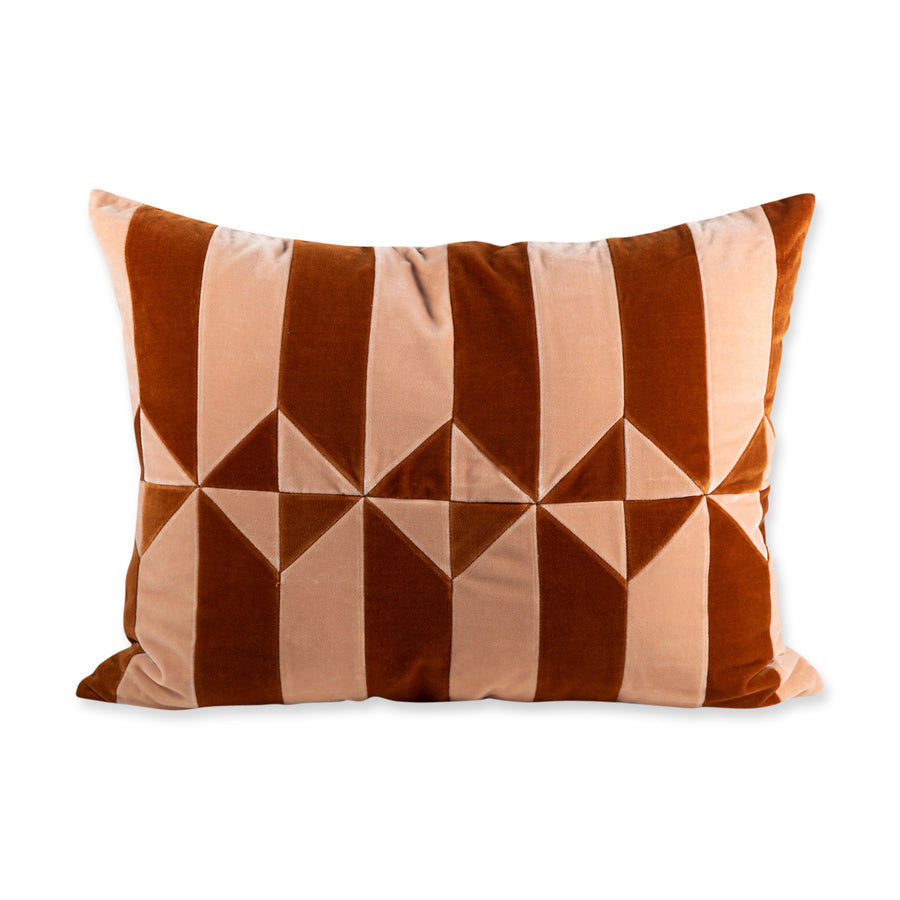 Hopkins Velvet Pillow - Peach + Burnt Orange