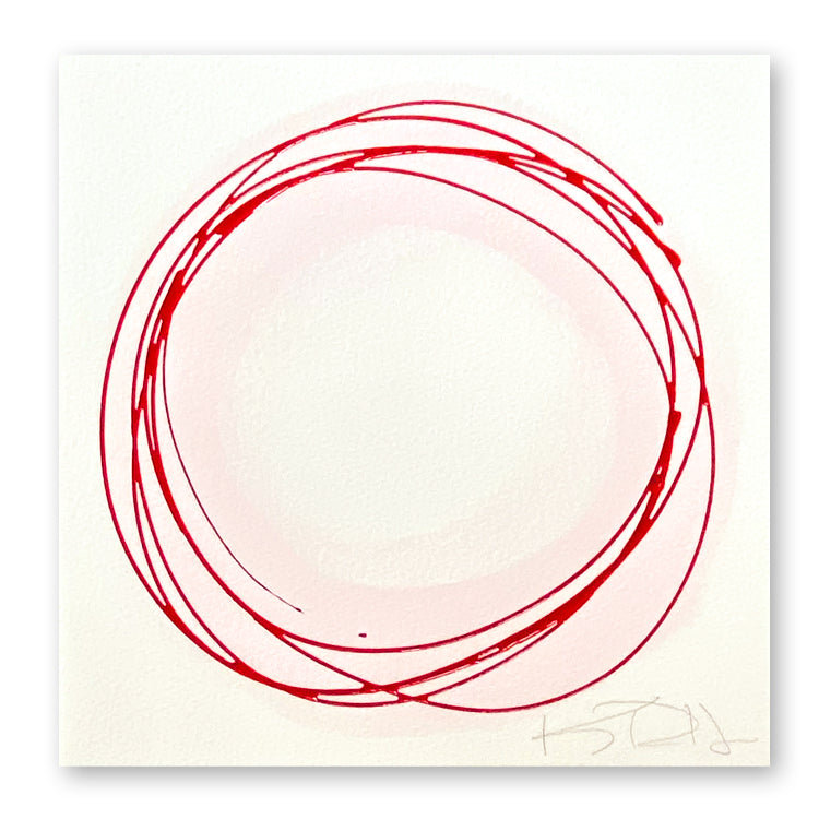 Red Circles on Pink #2 by Kayce Hughes