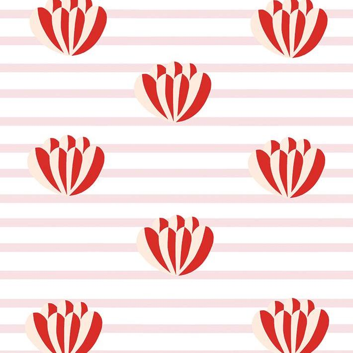 Lotus Stripe Wallpaper - Pink
