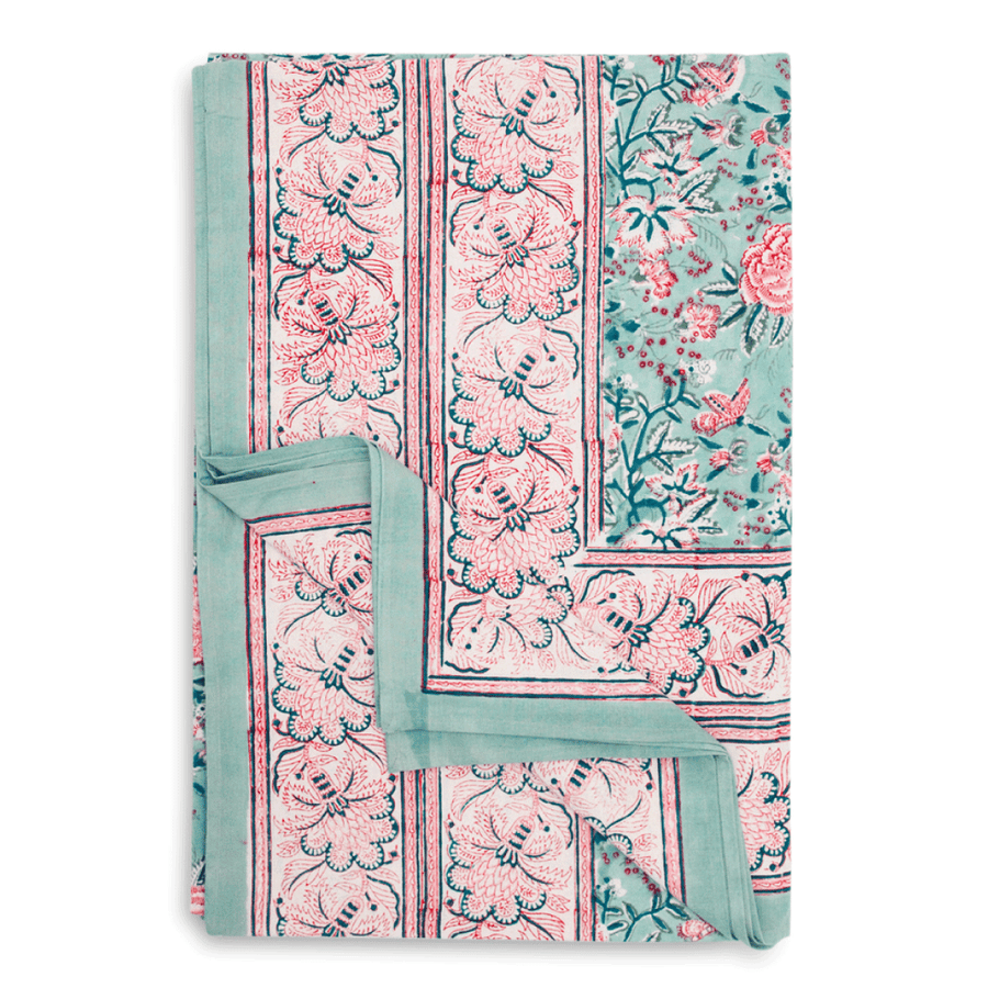 Furbish Studio - Marjorie Tablecloth in lovely pink and blue block prints in a bohemian motif