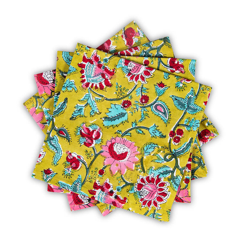 Furbish Studio - Milbrook Napkin with floral print in pinks, reds, aquas on chartreuse background