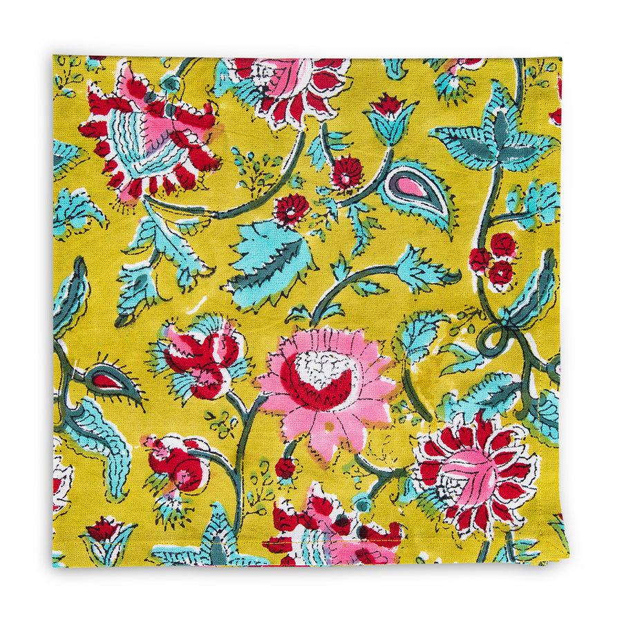 Furbish Studio - Milbrook Napkin with floral print in pinks, reds, aquas on chartreuse background print closeup