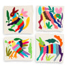 Furbish Studio - Otomi Colorful Embroidered Coaster Set of 4 fantasy animals