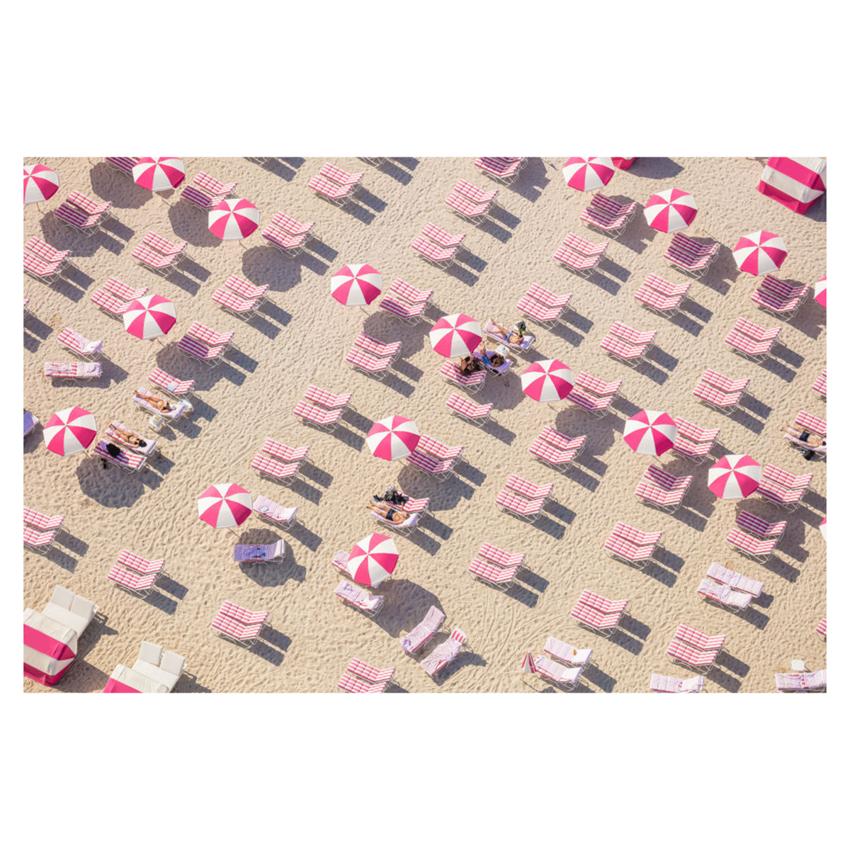 Pink and White Beach Club by Gray Malin