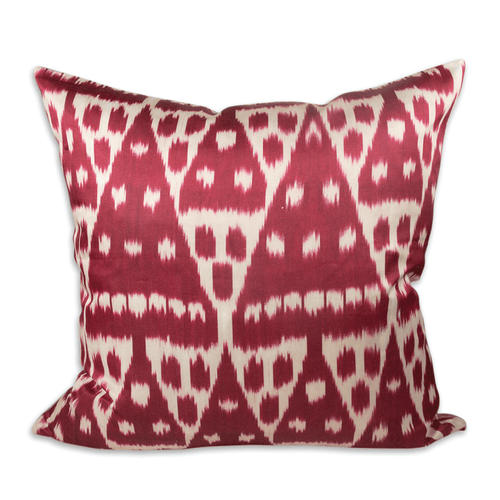 "Red Diamond 24"" Ikat Pillow"