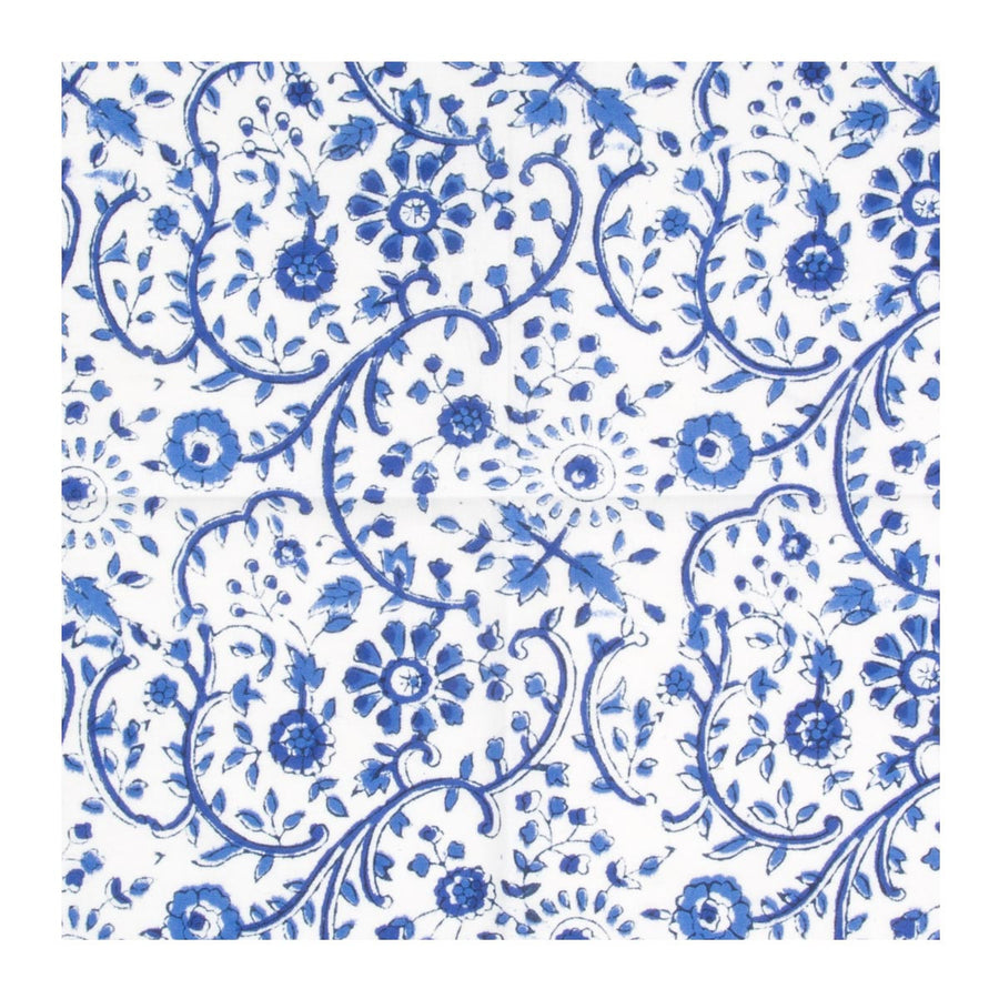 Furbish Studio - Raja Blue Floral Napkins closeup of pattern