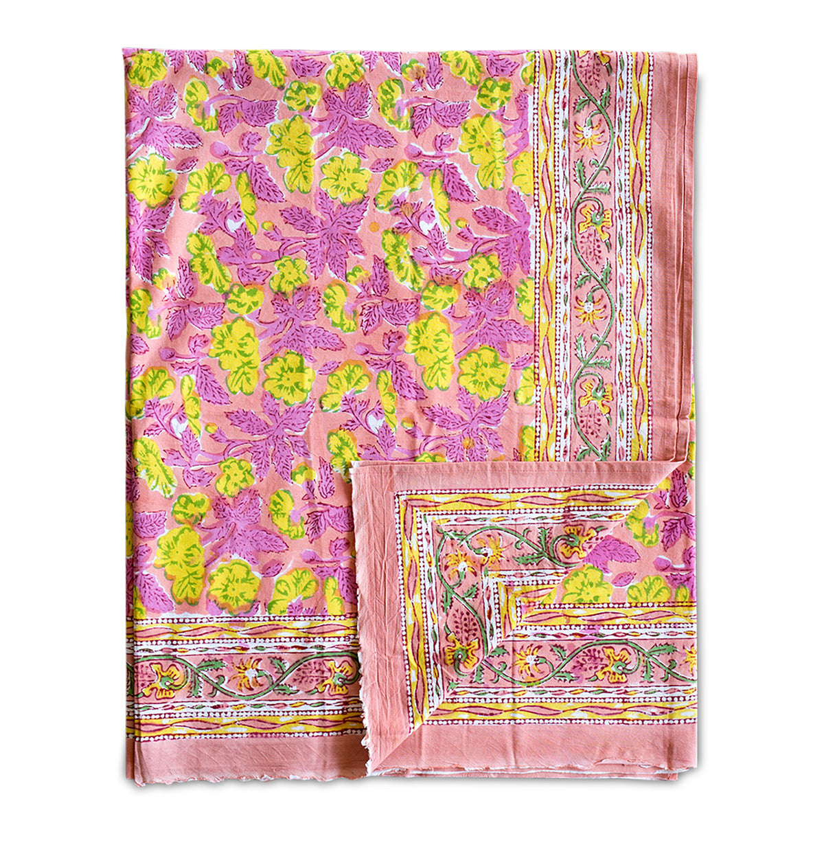 Furbish Studio - San Juan Island Tablecloth in pinks and yellows and greens