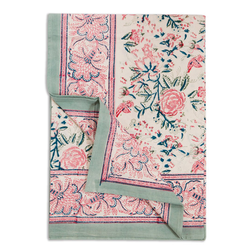 Furbish Studio - Shefali Tablecloth in pinks, greens, blues and cream floral