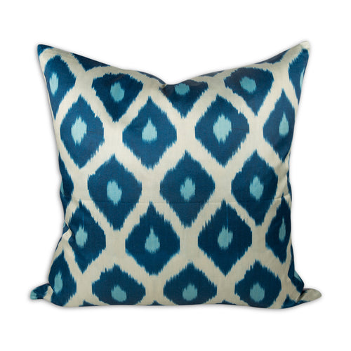 "Blue Diamond 24"" Ikat Pillow"