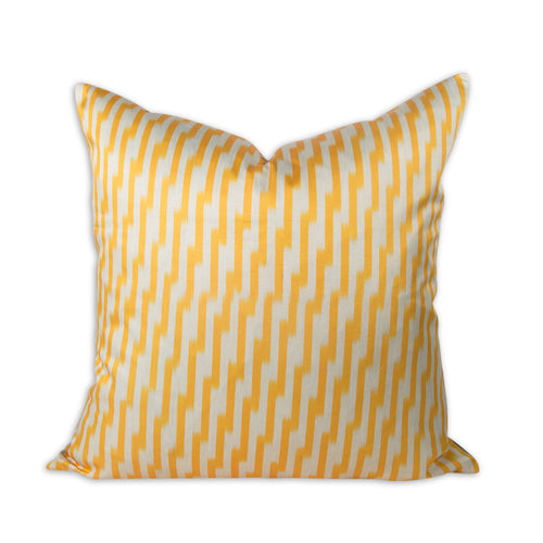 "Yellow Zig Zag 20"" Ikat Pillow"