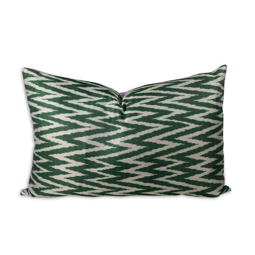 Green Zig Zag Ikat Lumbar Pillow