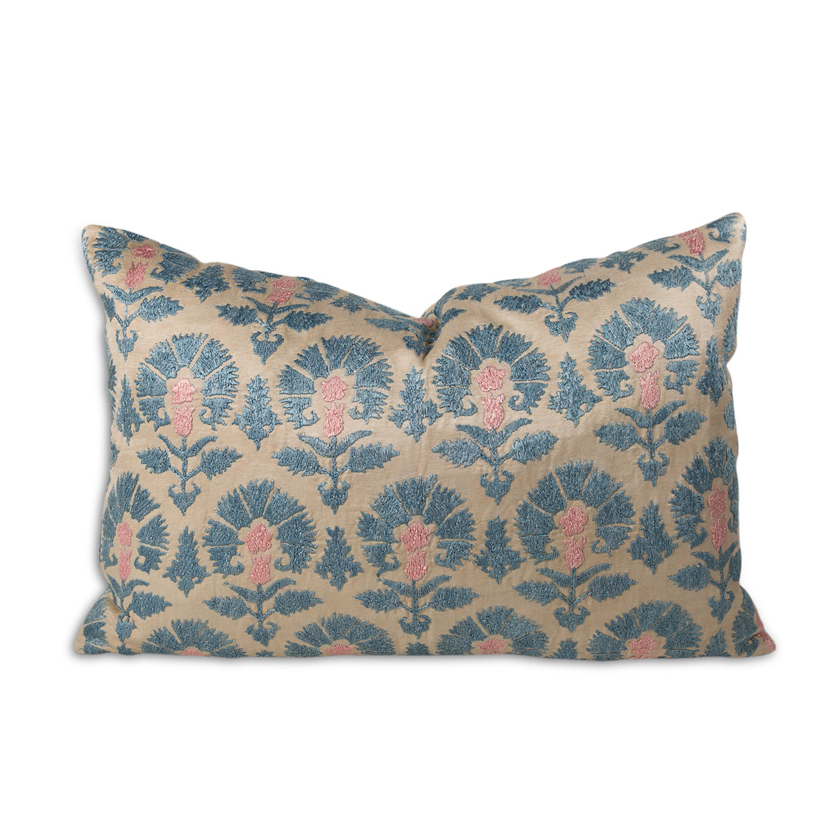 Embroidered Suzani Blue Lumbar Pillow