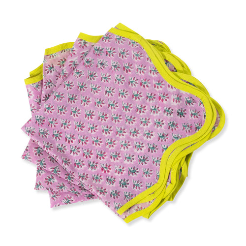 Furbish Studio - Blockprint napkin - purple base with floral pattern with neon yellow trim