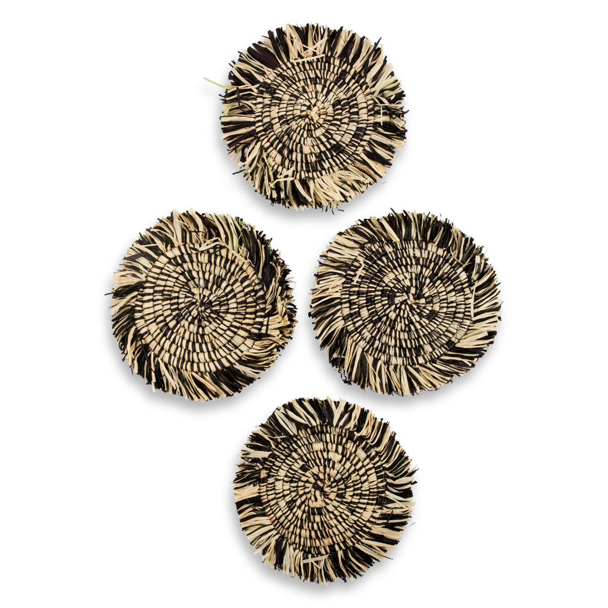 Beachfront Fringed Coasters - Black