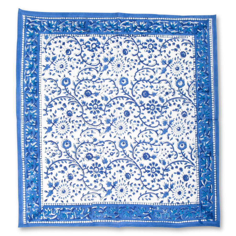Furbish Studio - Raja Blue Floral Napkins unfolded view