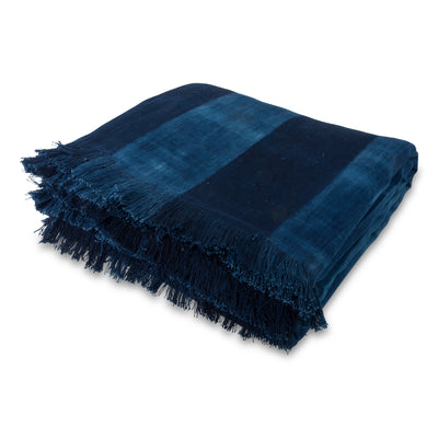 Indigo Striped Bed Coverlet