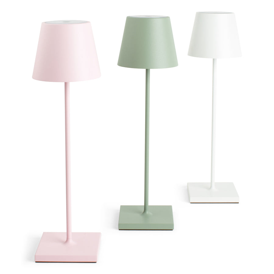 Furbish Studio - Rechargeable Annabelle Table Lamp shown in White, Pink, Sage Green