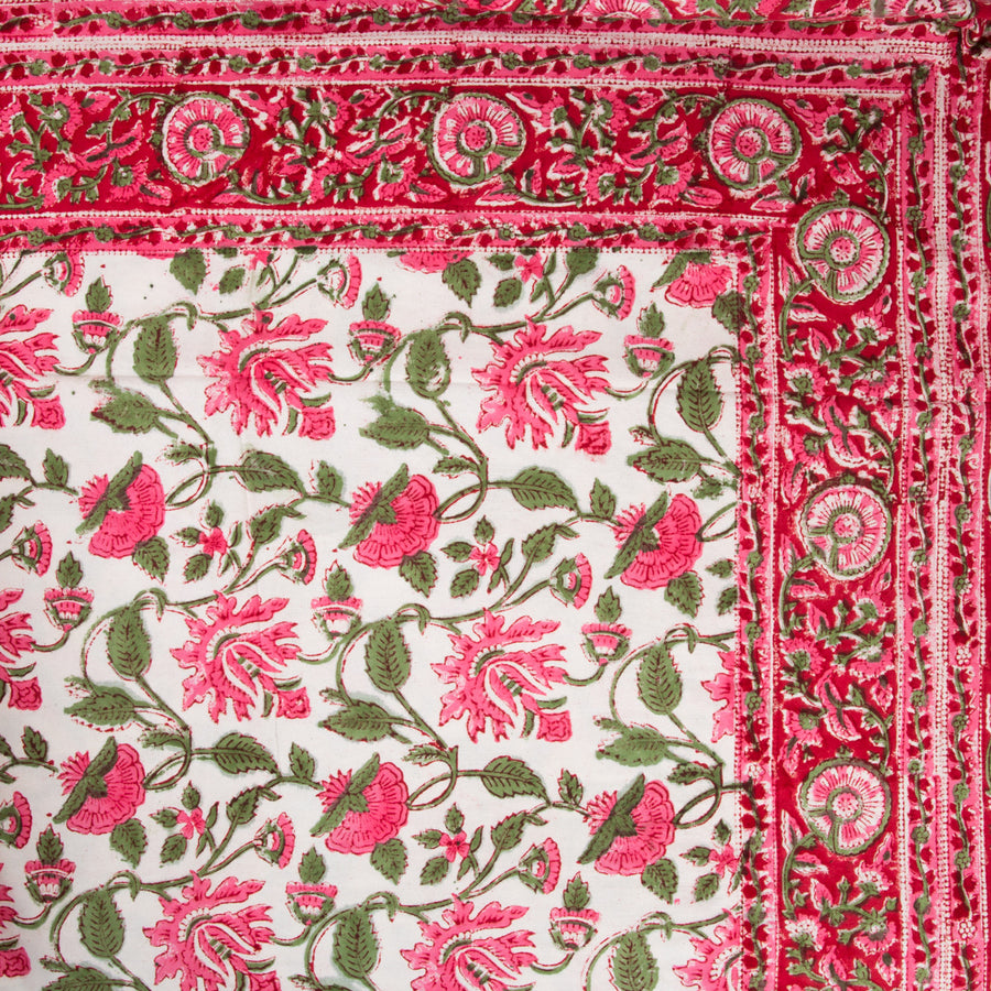 Furbish Studio - Pretty in Pink Tablecloth closeup of corner edge