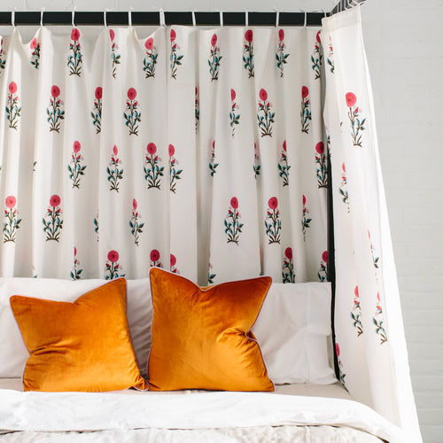 Paradise Flower Tie-Top Curtains
