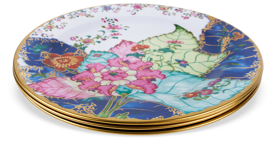 Furbish Studio - Tobacco Leaf Tin Plate with colorful leaf design for use or display shown stacked 4 deep