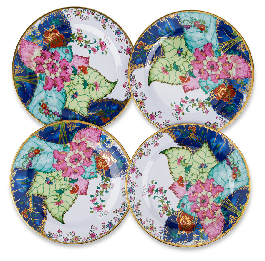 Furbish Studio - Tobacco Leaf Tin Plate with colorful leaf design for use or display shown in group of 4