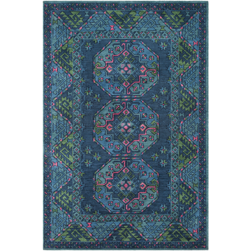 Furbish Studio - Wilshire Indoor/Outdoor Kilim Rug in rich blues with pops of pink