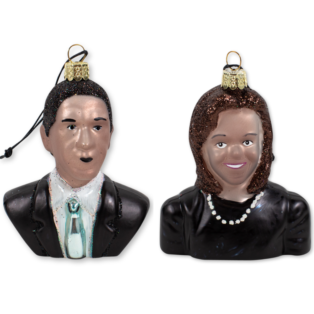 Barack and Michelle Obama Christmas tree ornaments.  Set of 2.