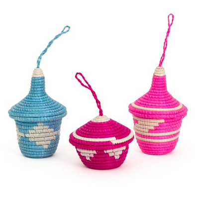 Festive Sisal Basket Ornaments S/3