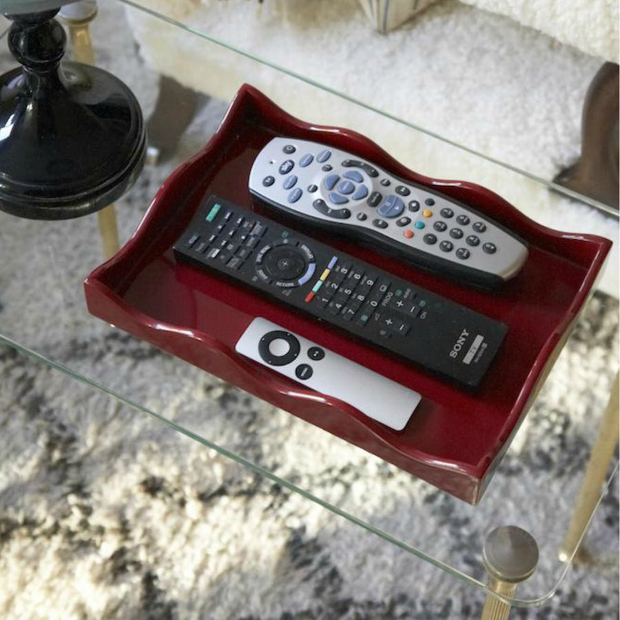 Furbish Studio - Belles Rives Tray shown on coffee tables holding tv and device remotes