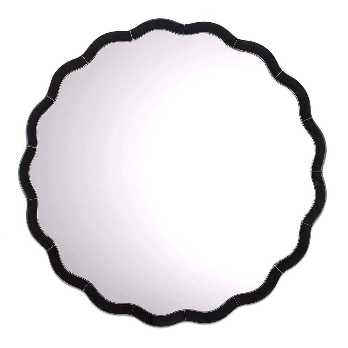 Sasha Round Scalloped Mirror - Black