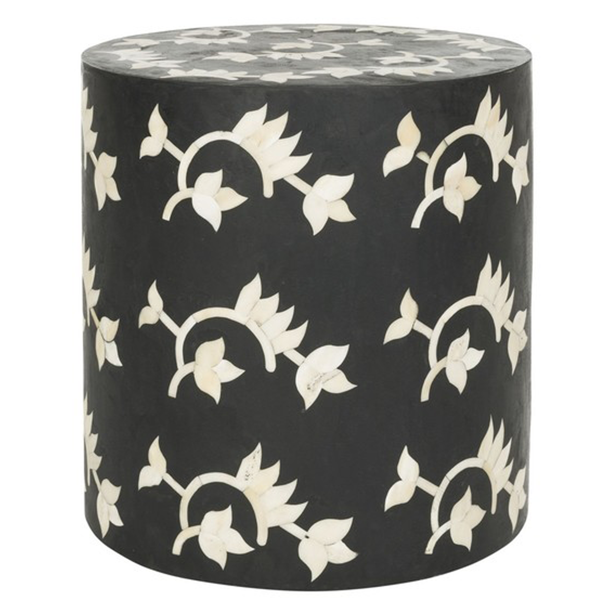 Bone Inlay Garden Stool - Black