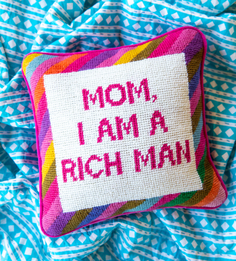 Furbish Studio - Colorful Cher Knows Best Needlepoint Pillow with Mom I am a rich man saying