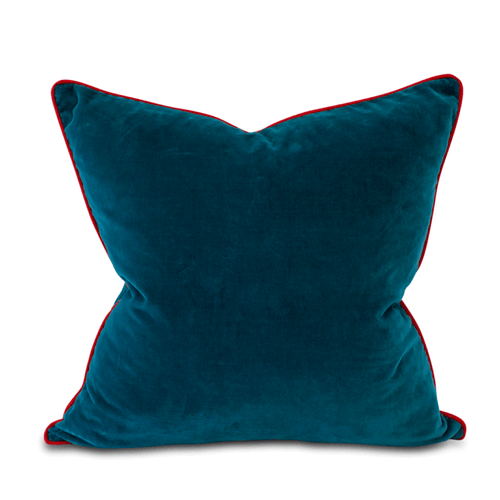 Furbish Studio - Chloe Velvet Pillow in Aegean Blue with Tomato Red Piping front view