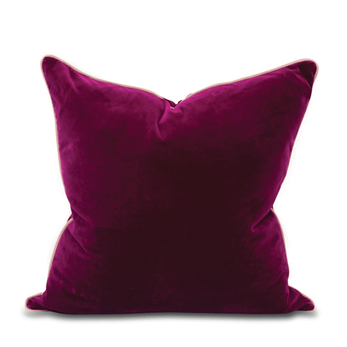 Chloe Velvet Pillow - Mulberry + Blush