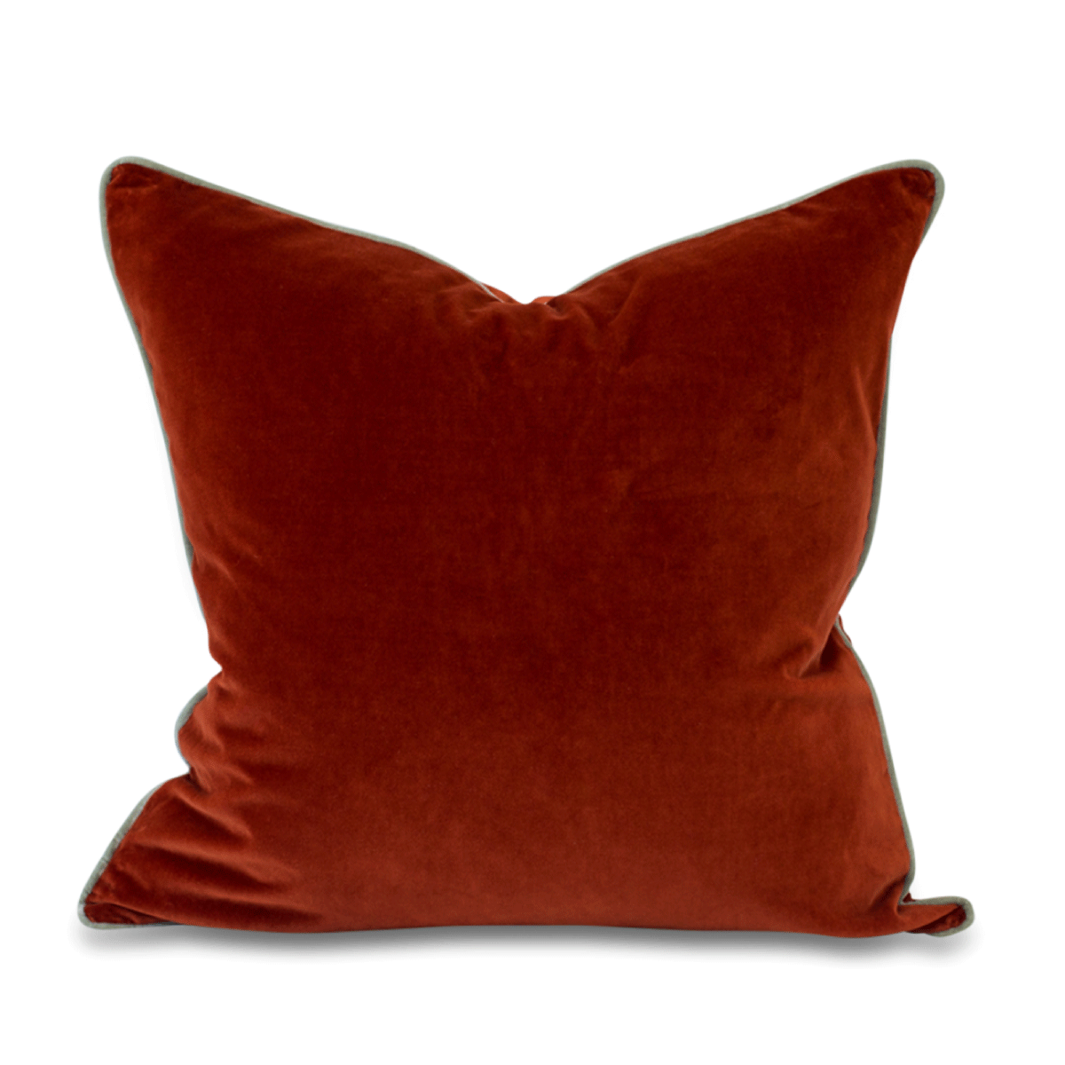 Furbish Studio - Chloe Velvet Pillow in Terra Cotta with Mint Green Piping